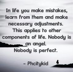 In life we all make mistakes. Nobody is perfect.