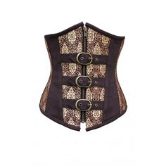 CD-645 - Coffee and Gold Brocade Underbust - MADE TO ORDER