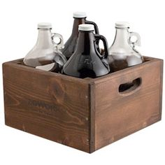 KegWorks Wooden Beer Growler Carrier - Holds 4 Beer Growlers