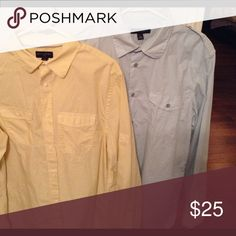 Men's Banana Republic shirt bundle EUC Banana Republic men's shirts. Soft yellow is size Large 100% cotton. Light blue is size Large 16-16 1/2 neck 100%. Light shirts great for summer with jeans, pants, or shorts. Banana Republic Shirts Casual Button Down Shirts