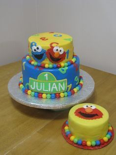 Elmo Smash Cake but maybe more colors than just yellow lets party