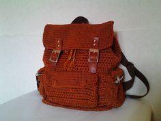 Brown Crochet Backpack by Diyozecrochet on Etsy https://www.etsy.com/listing/249163686/brown-crochet-backpack