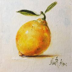 Lemon with Two Leaves Still Life Original Oil Painting by Nina