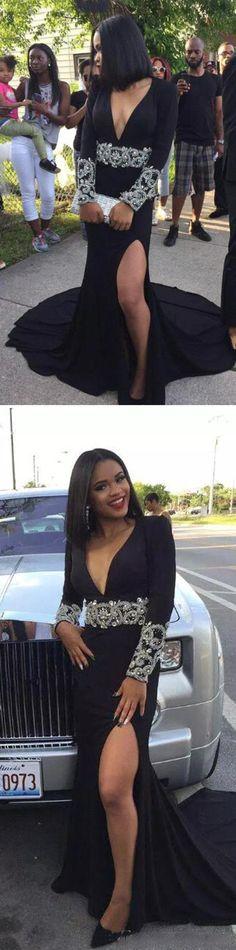 Black prom dress, long prom dress, sexy v neck prom dress, long sleeves prom dress, split prom dress, evening dress, PD15083 #prom #promdress #longpromdress