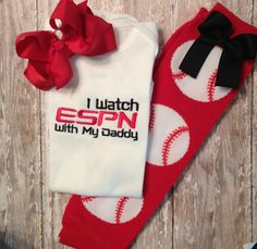 I watch ESPN with my Daddy Bodysuit Outfit, Baseball Leggings with attached bow, and Bow Set