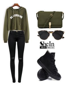 """""""SHEIN Sweatshirt"""" by tania-alves ❤ liked on Polyvore featuring J Brand, Converse, Elizabeth and James and Christian Dior"""