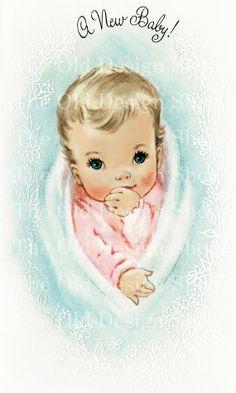 Printable VINTAGE NEW BABY Pink Blue Color Illustration 300 dpi Digital Scan Vintage Image Antique Clip Art via Etsy