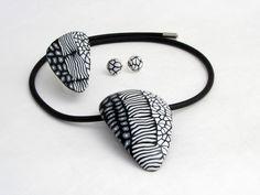 Keramik Schmucksets - Schmuckset Kette, Ohrstecker und Ring Polymer Clay - ein Designerstück von filigran-Design bei DaWanda