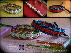 Kumimari: Kumihimo Bracelet Colorful Lines/ Pulsera de Kumih...