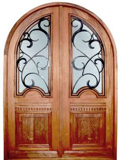 carved panels, accent trim and metal scroll glass panels.