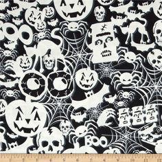 Timeless Treasures Glow in the Dark Halloween Collage Black from @fabricdotcom  Designed by Timeless Treasures, this cotton print fabric is perfect for quilting, apparel and home decor accents. Colors include shades of black, grey, and cream.
