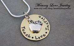 UNIQUE teacher gift for an end of the year gift or Teacher Appreciation Day May 7th!  Teach Love Inspire.   www.etsy.com/shop/memorylanejewelry