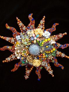 CJ Borden. Solas Southwestern Sunburst Vintage Jewelry Art. Jewelry Wall Art. By ArtCreationsByCJ on Etsy