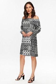 Petite Black and White Tile Print Dress - Dresses- Wallis Latest Fashion Dresses, Latest Dress, Black And White Tiles, Bardot Dress, Wallis, Petite Dresses, Dress Styles, Casual, Model