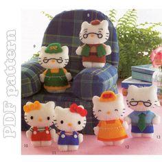 Hello Kitty and Family, 6 Mascot Felt Plush Pattern PDF | CraftyLine e-pattern shop