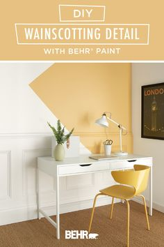 For a home makeover project that mixes modern and traditional interior design, turn to this DIY wainscotting detail tutorial from Behr paint. Neutral white wall paneling gets a pop of yellow thanks to the geometric accent wall featuring Charismatic, from the new BEHR® 2020 Color Trends Palette. Click below for full project details to learn more.