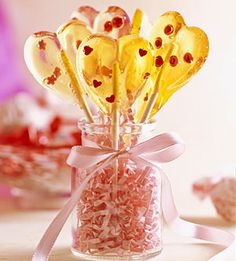 This Valentine's Day, treat your loved ones to homemade lollipops in the shape of hearts. Cooking the candy to the exact temperature and working quickly are the secrets to successful candy-making.