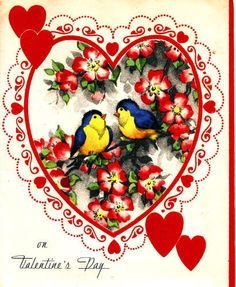 Vintage Valentine Card Pretty Bluebirds Hearts Flowers