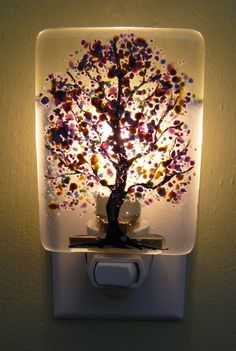 Fused Glass Purple Flowered Night Light - $25.00 - Handmade Fused Glass, Crafts and Unique Gifts by DLC Glass Studio, LLC