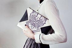 Geometrical Illusion Printed  Leather Pouch  Lavender by CORIUMI