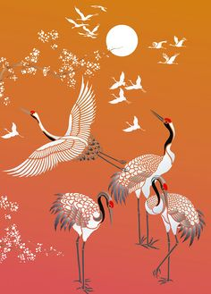 All Japanese Cranes Theme Pack Stencil - pochoir Japanese Drawings, Japanese Artwork, Japanese Painting, Japanese Prints, Chinese Painting, Chinese Art, Japanese Tattoos, Japanese Textiles, Japanese Crane