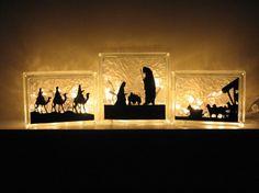 Nativity Vinyl for 3 set glass block by CarolinaVinylArts on Etsy