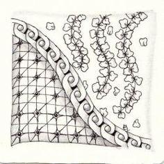 Ein Zentangle aus den Mustern Nulink, Sprigs, Xplo Zen,  gezeichnet von Ela Rieger, CZT