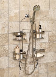 Zenith Products E7546stbb Premium Expandable Shower Caddy For Hand Held Or Tall Bottles Stainless