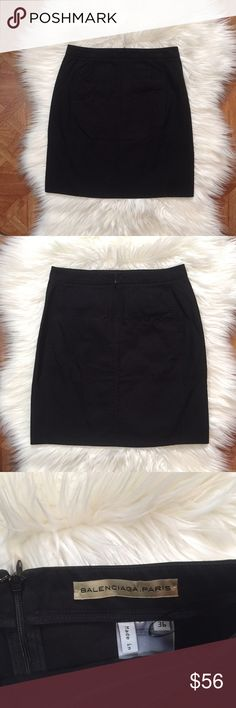 """Balenciaga mini skirt Black mini skirt 100% cotton • not lined • has two front pockets • approximate measurements waist 13"""" hips 17"""" length 17.5"""" • size tagged 36 equivalent of 2 US• in excellent condition no rips or stains Balenciaga Skirts Mini"""