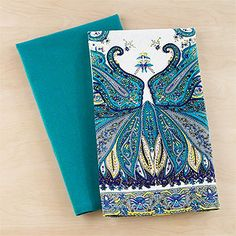 Blue Peacock Feather Kitchen Towel, Set Of 2