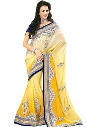 Yellow coloured embroidered saree for women by Triveni Sarees. Made from georgette, this saree measures 5.5 m in length, and comes with unstitched blouse piece of 0.8 m.