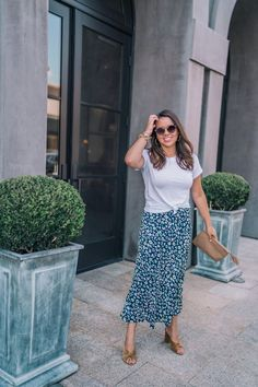 Summer to fall transitional style | Must-have fall midi skirts | Luv AJ tube hoop earrings | Loeffler Randall Coco mules in Marigold | Joules Bias Cut leopard print skirt | Fall fashion | fall style | fall outfit ideas | fall fashion inspo | fall outfits | Adored by Alex    #fallfashion #falloutfitideas #falltransitionalstyle