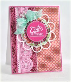beautiful Easter card using Classic Scallop Borders and Spring Words designed by Debbie Olson