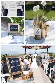 dinner reception centerpiece and welcome sign for wedding