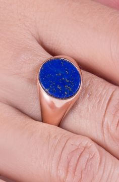 Lapis Lazuli Signet Ring made out of Solid Solid Gold or Solid Gold. Choose a Yellow Gold, White Gold or a Rose Gold finish. An eye-catching ring, perfect for your everyday wear. Amazing Gifts, Simple Jewelry, Signet Ring, Silver Man, Jewelries, Stores, Lapis Lazuli, Ring Designs, Solid Gold