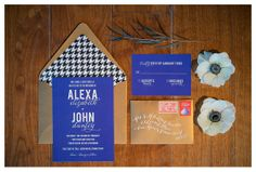 Modern houndstooth and cobalt blue wedding invitation suite - featured in Connecticut Bride - via Roseville Designs #yale #typopgrahy #gold photo credit: @Brooke Williams Allison Photo