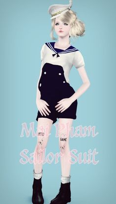 Sailor Short Suit converted for females by Mai Pham - Sims 3 Downloads CC Caboodle
