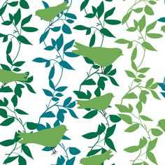 Fabric birds & leaves 150 cm from panduro