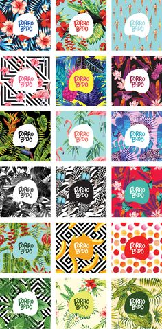 I like the use of color and repetition. Branding / Forrobodó - Loja de Arte online on Behance Graphisches Design, Layout Design, Pattern Design, Print Design, Logo Design, Design Trends, Identity Design, Visual Identity, Brand Identity