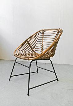Vintage Wicker Woven Cane Chair by Dirk van Sliedrecht for