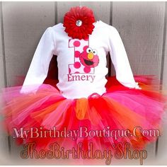 Elmo First Birthday Tutu Set This Includes A Custom Shirt With Your Childs Name And Age Red Pink Orange Everything Can Be Customized