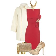 """""""Christmas Party in Red & Gold"""" by simona-risi on Polyvore"""