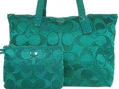 'Coach NWT Signature Packable Jade Weekender' is going up for auction at  1pm Thu, Oct 10 with a starting bid of $1.
