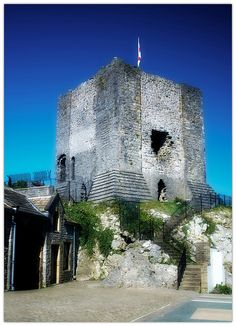 The tower of Clitheroe Castle in Lancashire, England.