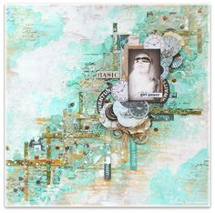 Scraps of Darkness scrapbook kits: Wilma Voermans created this amazing textured mixed medfia layout using our Sept. Tanya's Industrial Odyssey Kit. Find our kits here: www.scrapsofdarkness.com