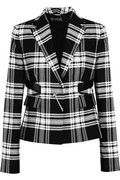 Versace | Patent leather-trimmed plaid wool-twill blazer  | NET-A-PORTER.COM