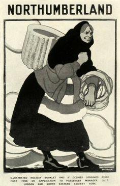 1924 Print Poster Spurrier Northumberland Fishwife Fisher Lady Shawl London Rail | eBay