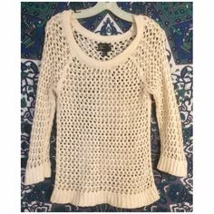 American Eagle Hole Crochet Knit Sweater Only worn twice, looks just like new cream colored. Tag says medium but can fit anywhere from XS-L. I am an XS and bought it larger because I like oversized sweaters. Willing to accept other offers as well :) American Eagle Outfitters Sweaters