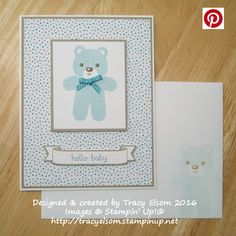 Cute baby card with a teddy from the Cookie Cutter Christmas Stamp Set in the Stampin' Up! 2016 Holiday Catalogue.  http://tracyelsom.stampinup.net