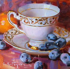 Pink Cup and Black Grapes by Elena Katsyura